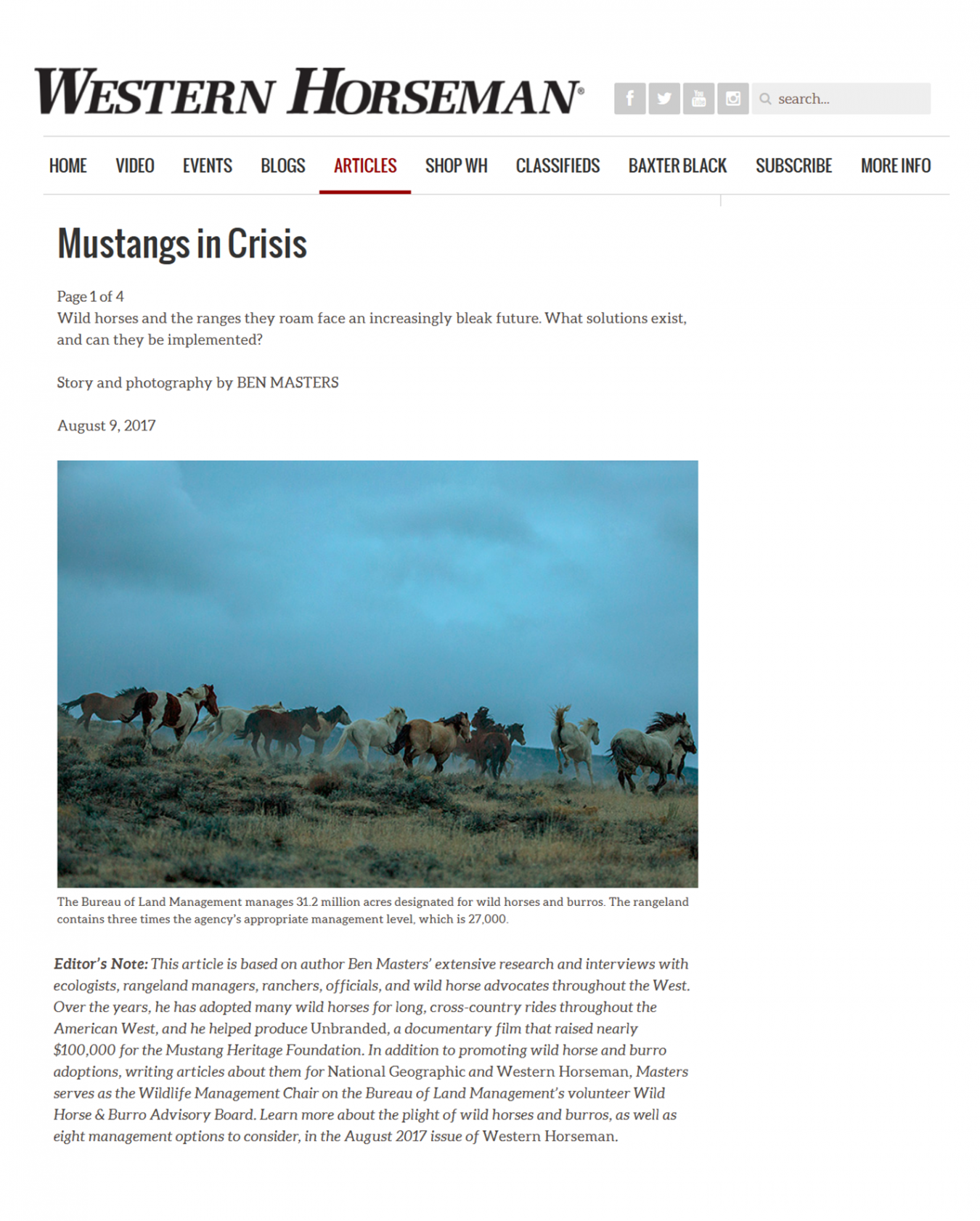 Mustangs In Crisis - Article in Western Horseman Magazine